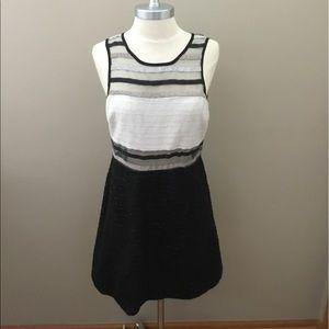 Akira Black Label Black/Tan Striped Dress